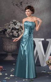 Strapless Criss-Cross Floor-Length Gown with Flower