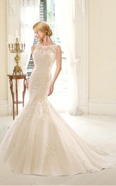 Mermaid Lace and Organza Wedding Dress With Deep V Back