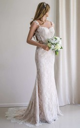 Illusion Sleeve Satin Lace Backless Wedding Dress