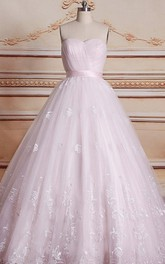 Ball Gown Sweetheart Chapel Train Tulle Lace Dress With Lace-Up Back