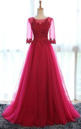 Scoop Appliques Half Sleeve Tulle Dress
