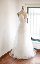 V-neck Sleeveless Lace Tulle Wedding Dress With Illusion Back