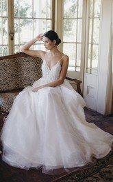 Tulle Backless Ethereal Spaghetti Straps Plunging V-neck Bridal Ballgown With Lace Appliques