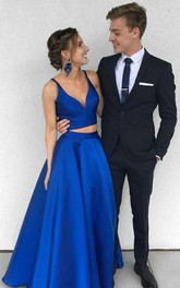 Two Piece Deep V Neck Royal Blue Satin Prom Dress Evening Dress