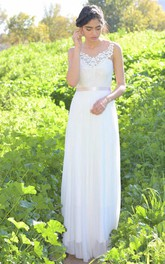V-Neck Sleeveless Chiffon Backless Wedding Dress With Lace Top