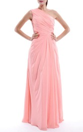Long One-shoulder Chiffon Dress