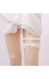 Handmade Western Two-piece Stretch Lace Bow Garter Within 16-23inch