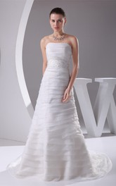 Strapless A-Line Dress with Overall Ruched Design and Gemmed Waist
