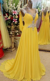 A-line Princess Straps Sleeveless Beading Sweep Brush Train Chiffon Dresses