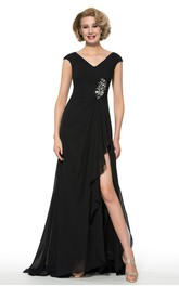Elegant Chiffon V-Neck Low-V Back Long Dress with Front Split