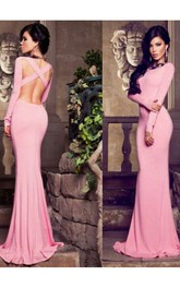 Modern Bateau Long Sleeve Mermaid Prom Dress Floor-length Cross Crisis Back