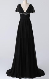 A-line V-neck Sweep Train Chiffon Dress With Beading