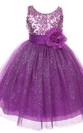 Sleeveless A-line Sequined Dress With Flower and Bow