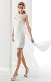 Short Lace Gown With Detachable Cap