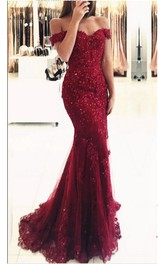 Off Shoulder Lace Beaded Mermaid Evening Prom Dress