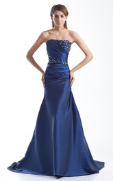 strapless satin a-line ruched gown with corset back and beading