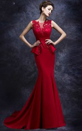 Sleeveless Peplum Mermaid Satin Gown With Lace Detailing
