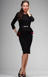 Sleeved Flouncing Pencil Dress With Belt