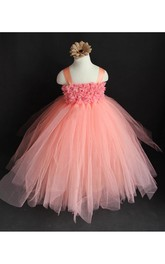 Spaghetti Strap Flower Chest Ruffled Pleated Tulle Gown With Bow Sash