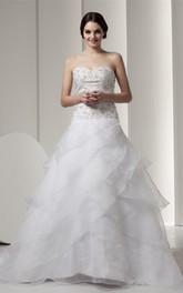 Sweetheart A-Line Ball Gown with Beading and Embroidered Bodice