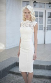 High-Neck Elegant Knee-Length Wedding Dress With Lace Bodice