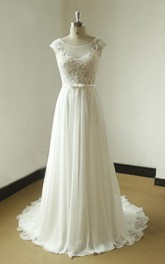 A-Line Chiffon Lace Weddig Dress With Beading