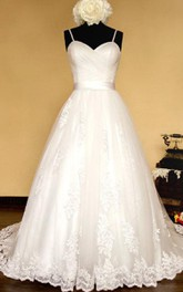 Spaghetti Crisscross Organza Wedding Dress With Sash And Lace-Up Back