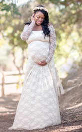 Removable Illusion Long Sleeve Long Lace Maternity Dress
