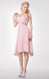 Classic Sweetheart Side-draped Chiffon Dress High Low Style