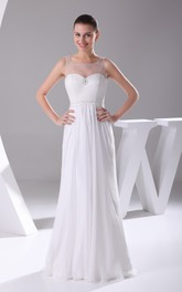 Sleeveless Floor-Length Chiffon Dress With Illusion Neckline