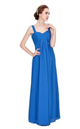 Sleeveless Empire Chiffon Gown With Ruched Bodice