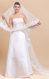Modern One-tier Chapel Wedding Veil With Lace Edge