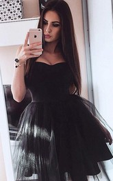 A-line Ball Gown Sweetheart Sleeveless Pleats Ruching Short Mini Satin Tulle Homecoming Dress