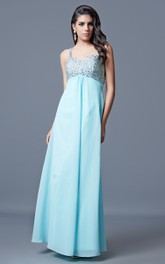 Noble Sleeveless Ruched Chiffon Gown With Beaded Bust