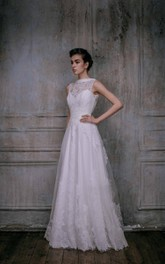 Tulle Lace Taffeta Weddig Dress With Low-V Back