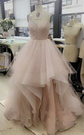 Spaghetti Chic Tulle Floor Length Prom Dresses Evening Dresses