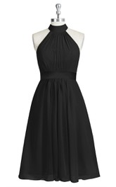 A-Line Sleeveless Chiffon Dress With High Neck and Satin Waistband