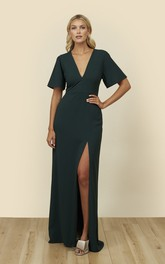 Bell Half Sleeve With A Keyhole Back Dress With Plunging Neckline And Front Split