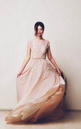 Ethereal A-Line Bateau Floor-Length Dress With Appliques