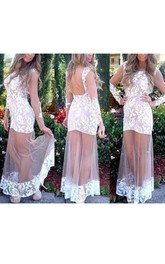 Long Sleeve Illusion Lace Backless Long Dress