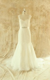 Queen Anne Sleeveless Sheath Lace Wedding Dress With Sash And Crystal Detailing