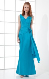 v-neck chiffon ankle-length sleeveless dress with flower and ruching