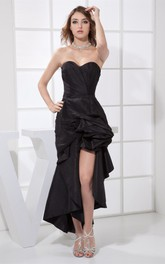 Asymmetrical Sweetheart Ruched Dress with Pick Up and Front Slit