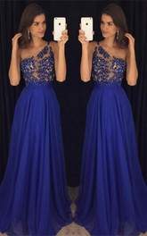 Elegant Royal Blur One Shoulder 2018 Prom Dresses Long Chiffon Appliques