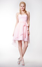 Crisscross Front Sweetheart Chiffon Dress With High Low Style