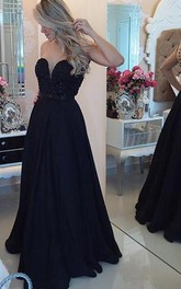 Sexy Chiffon Black A-line Prom Dress 2018 Zipper Button Back