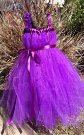 Spaghetti Strap Tulle Dress With Flower and Sash Ribbon