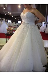 Plus Size Sweetheart Beading A Line Sweep Train Tulle Wedding Dress