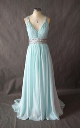 Long V-neck Chiffon Dress With Pleats And Beading