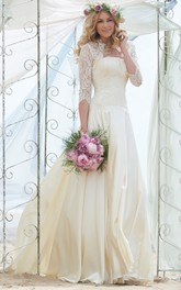 A-Line 3-4-Sleeve Floor-Length Strapless Chiffon Wedding Dress With Lace And Illusion